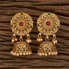 207121 Antique Jhumkis With Gold Plating