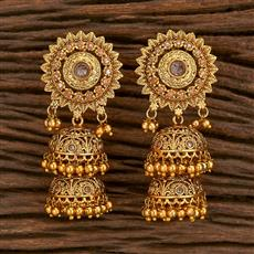 207122 Antique Jhumkis With Gold Plating