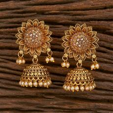 207123 Antique Jhumkis With Gold Plating