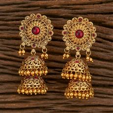 207124 Antique Jhumkis With Gold Plating