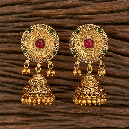 207125 Antique Jhumkis With Gold Plating