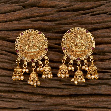 207126 Antique Temple Earring With Gold Plating