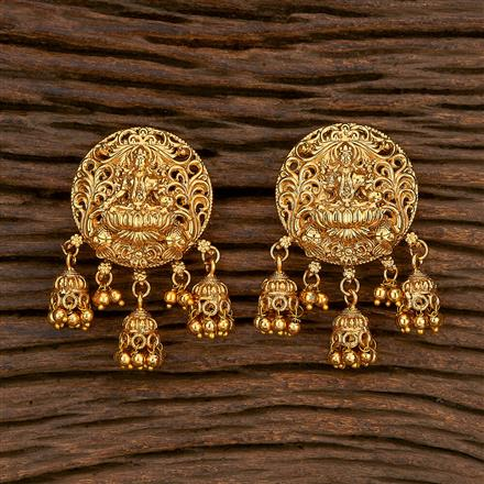 207128 Antique Temple Earring With Gold Plating