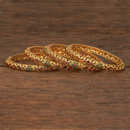 207132 Antique Classic Bangles With Matte Gold Plating
