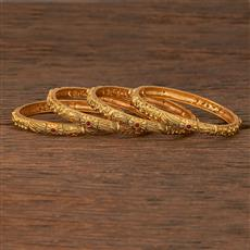 207134 Antique Classic Bangles With Matte Gold Plating