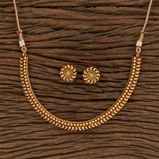 207139 Antique Plain Necklace With Gold Plating