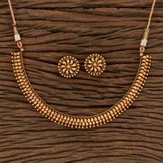 207140 Antique Plain Necklace With Gold Plating