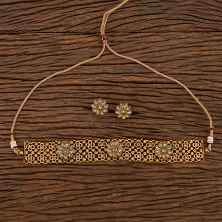 207142 Antique Choker Necklace With Matte Gold Plating