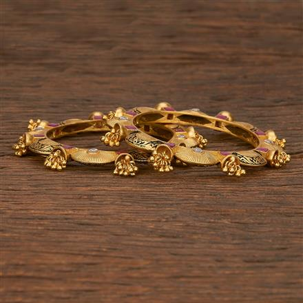 207165 Antique Classic Bangles With Matte Gold Plating
