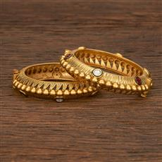 207166 Antique Openable Bangles With Matte Gold Plating