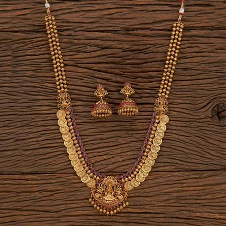 207167 Antique Peacock Necklace With Matte Gold Plating