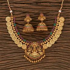 207168 Antique Peacock Necklace With Matte Gold Plating
