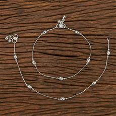 207181 Antique Delicate Payal With Rhodium Plating