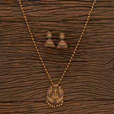 207241 Antique Temple Pendant Set With Matte Gold Plating