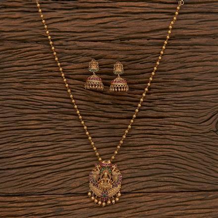 207241 Antique Temple Pendant Set With Matte Gold Plating