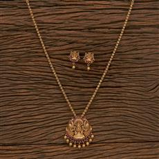 207242 Antique Temple Pendant Set With Matte Gold Plating