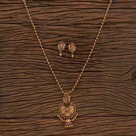 207243 Antique Temple Pendant Set With Matte Gold Plating