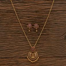 207265 Antique Temple Pendant Set With Matte Gold Plating