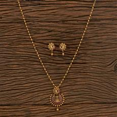 207266 Antique Temple Pendant Set With Matte Gold Plating