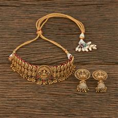 207281 Antique Choker Necklace With Matte Gold Plating
