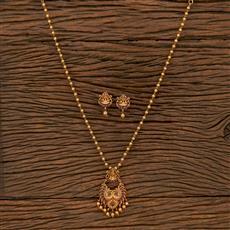 207283 Antique Temple Pendant Set With Matte Gold Plating