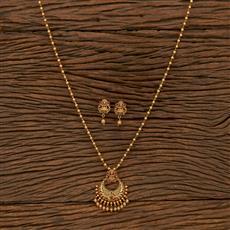 207284 Antique Temple Pendant Set With Matte Gold Plating