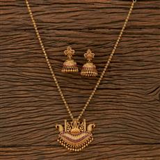 207285 Antique Temple Pendant Set With Matte Gold Plating