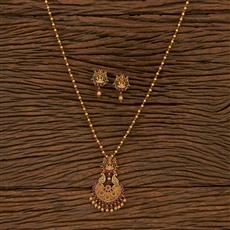 207286 Antique Temple Pendant Set With Matte Gold Plating