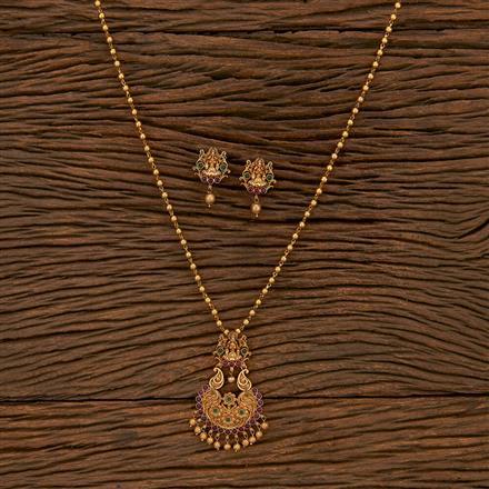 207286 Antique Temple Pendant Set With Matte Gold Plating
