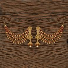 207287 Antique Earring With Chain With Gold Plating
