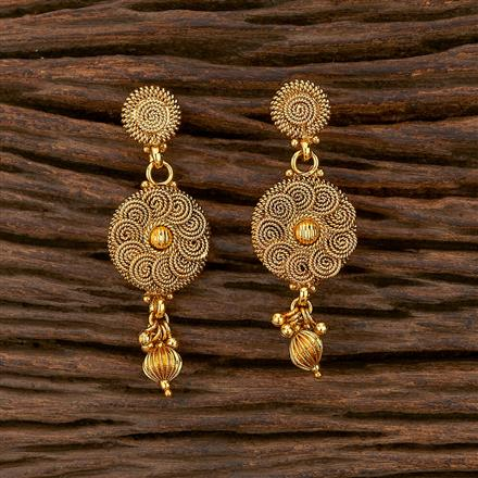 207297 Antique Plain Earring With Gold Plating