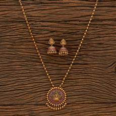 207320 Antique Mala Pendant Set With Matte Gold Plating