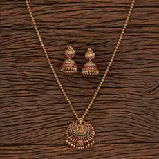 207345 Antique Temple Pendant Set With Matte Gold Plating