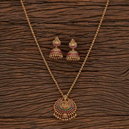 207345 Antique Temple Pendant Set With Matte Gold Plating
