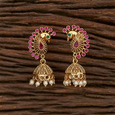 207380 Antique Peacock Earring With Gold Plating