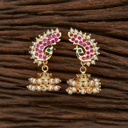 207385 Antique Peacock Earring With Gold Plating