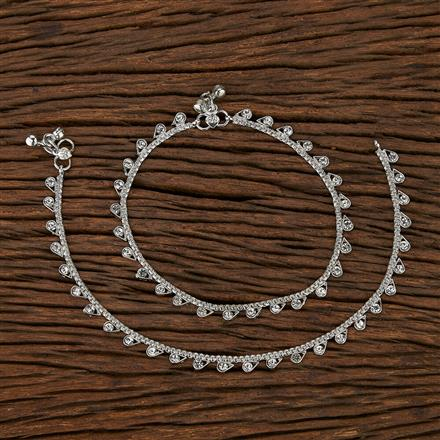 207468 Antique Delicate Payal With Rhodium Plating
