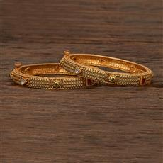 207474 Antique Openable Bangles With Matte Gold Plating