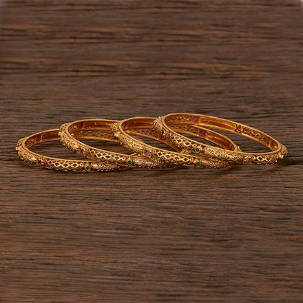 207475 Antique South Indian Bangles With Matte Gold Plating