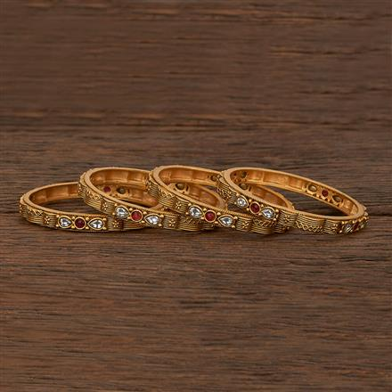 207481 Antique Classic Bangles With Matte Gold Plating