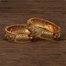 207482 Antique Openable Bangles With Matte Gold Plating