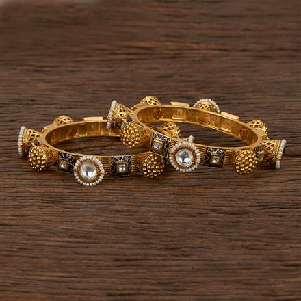 207484 Antique Classic Bangles With Matte Gold Plating