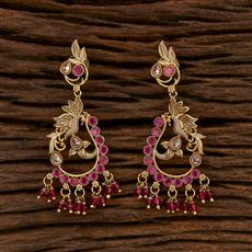 207496 Antique Peacock Earring With Gold Plating