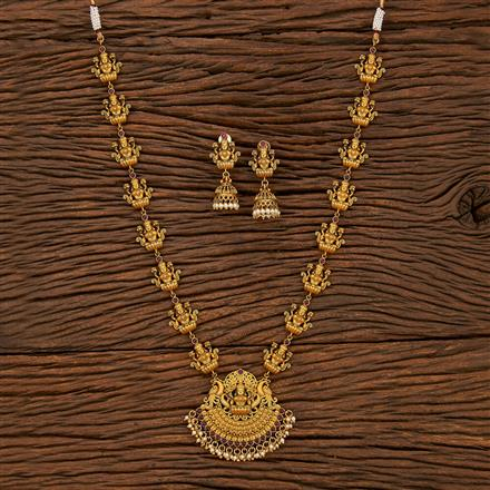 207504 Antique Long Necklace With Matte Gold Plating