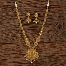 207505 Antique Long Necklace With Matte Gold Plating