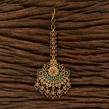 207508 Antique South Indian Tikka With Matte Gold Plating