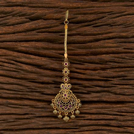 207510 Antique South Indian Tikka With Matte Gold Plating