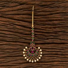 207511 Antique South Indian Tikka With Matte Gold Plating