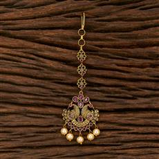 207512 Antique South Indian Tikka With Matte Gold Plating