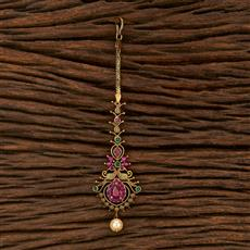 207513 Antique South Indian Tikka With Matte Gold Plating